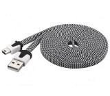 Kabel USB 2.0,plochý USB A vidlice, USB A mini vidlice 2m