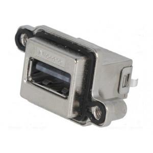 Zásuvka USB A MUSB do panelu, přišroubováním THT přímý IP68