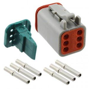 Konektor vodič-vodič AT zásuvka 16-18AWG 6 PINIP67,IP69K