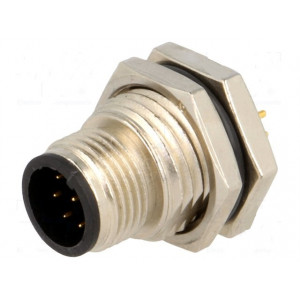Konektor M12 zásuvka vidlice 8 PIN THT IP68 30V 2A Mat kov