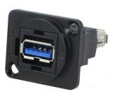Spojka USB A zásuvka, z obou stran FT V: USB 3.0 kov 19x24mm