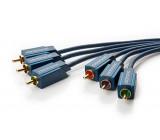 Kabel RCA vidlice x3,z obou stran 5m Povrch: zlacený modrá