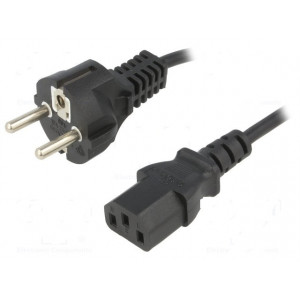 Kabel CEE 7/7 (E/F) vidlice, IEC C13 zásuvka 5m černá PVC