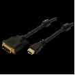 Kabel DVI-D (18+1) vidlice, HDMI mini vidlice 3m černá