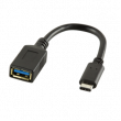 Kabel USB 3.1 USB A zásuvka, USB C vidlice 150mm černá