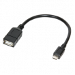 Kabel USB 2.0 USB A zásuvka, USB B micro vidlice 0,2m černá