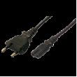 Kabel CEE 7/16 (C) vidlice, IEC C7 zásuvka 1,8m černá 2,5A