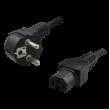 Kabel CEE 7/7 (E/F) vidlice, IEC C15 zásuvka 1,8m černá 2,5A