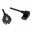 Kabel CEE 7/7 (E/F) vidlice, IEC C13 zásuvka 90° 2m černá 10A