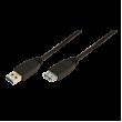 Kabel USB 3.0 USB A zásuvka, USB A vidlice niklovaný 2m černá