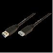 Kabel USB 3.0 USB A zásuvka, USB A vidlice niklovaný 3m černá