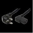 Kabel CEE 7/7 (E/F) úhlová vidlice, IEC C13 zásuvka 90° 2m