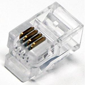 Konektor RJ9 zástrčka 4 PIN vývody 4p4c na kabel