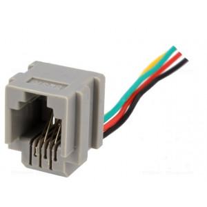 Konektor RJ11 200mm zásuvka 4 PIN se zajištěním panel stop