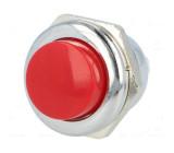 Přepínač tlačítkový bez aretace SPST očka červený kov