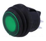 Kolébkový vypínač ON-OFF DPST 2 polohy podsvětlený zelený
