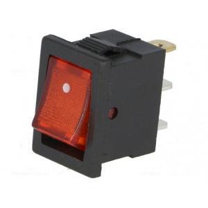 Kolébkový spínač miniaturní prosvětlený 1x spín. ON-OFF červený