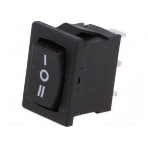 Kolébkový přepínač miniaturní 3polohy(ON)-OFF-(ON) 3A černý