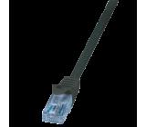 Patch cord U/UTP 6 licna CCA PVC černá 250mm 26AWG