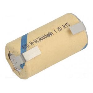Akum: Ni-MH SubC 1,2V 3000mAh Výv: pájecí očka Ø23x46mm