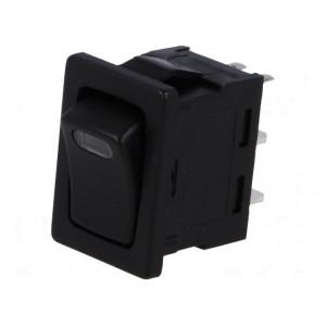 Kolébkový spínač 1x spín. ON-OFF 10A černý+LED červený