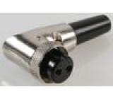 Zástrčka mikrofonní zásuvka 2PIN úhlový na kabel 6mm