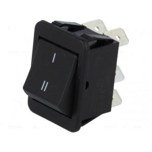 Kolébkový přepínač 2x přepínač ON-ON 16A 250V černý