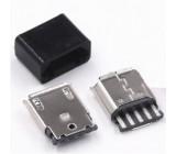 Micro USB konektor samice rozebíratelný pájecí na kabel přímý černý