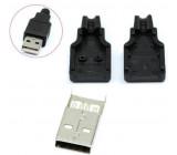 USB konektor samec rozebíratelný pájecí na kabel přímý