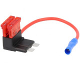 Rozbočovač 10A 2 pojistky 1mm2 barva červená