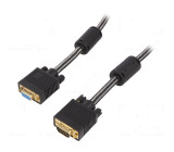 Kabel D-Sub 15pin HD vidlice, D-Sub 15pin HD zásuvka černá 3m