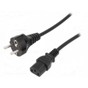 Kabel CEE 7/7 (E/F) vidlice, IEC C13 zásuvka 1,2m černá 10A