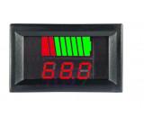 Voltmetr panelový s indikací stavu baterie LED 10-72V