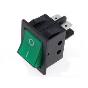 Kolébkový spínač prosvětlený 2x spín. ON-OFF 15A zelený
