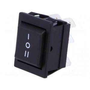 Kolébkový přepínač 2pólový 3polohy ON-OFF-ON 16A 250V černý