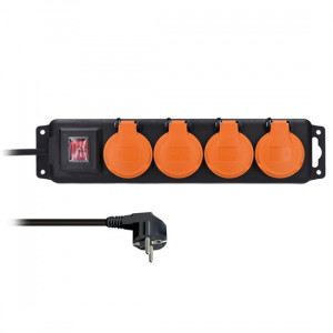 Prodlužovací přívod IP44, 4 zásuvky, vypínač, venkovní, 3m