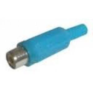CINCH zásuvka kabelová plastová pozlacená modrá