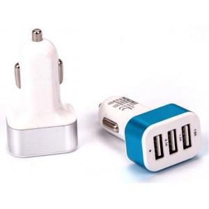 Autoadaptér USB do automobilu modrý 12-24V  3xUSB 4.1A