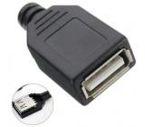 USB konektor samice rozebíratelný pájecí na kabel přímý