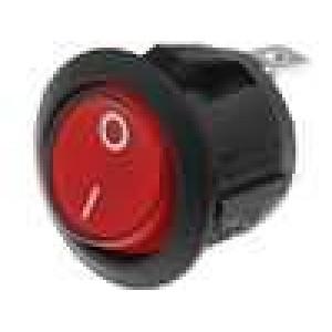 ROCKER SPST 6A/250VAC 20A/12VDC OFF-(ON) červená 50mΩ