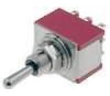 Přepínač páčkový 2 polohy 3PDT 2A/250VAC 5A/28VDC Výv očka
