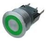 Přepínač odolný vandalům bez aretace zelené podsvícení 24V SPDT 3A/250VAC IP40 22mm