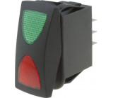 Kolébkový přepínač ON-OFF-ON SPDT Zatížení AC 10A/250V zeleno-červený podsvětlený
