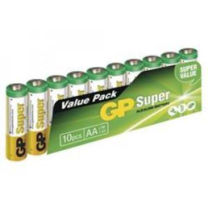 Alkalická baterie GP Super LR6 (AA), 10 ks ve fólii